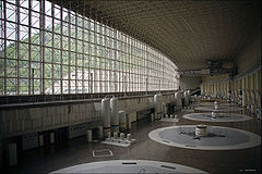 Before picture of the turbine generator hall of the Syano-Shusenskaya Plant